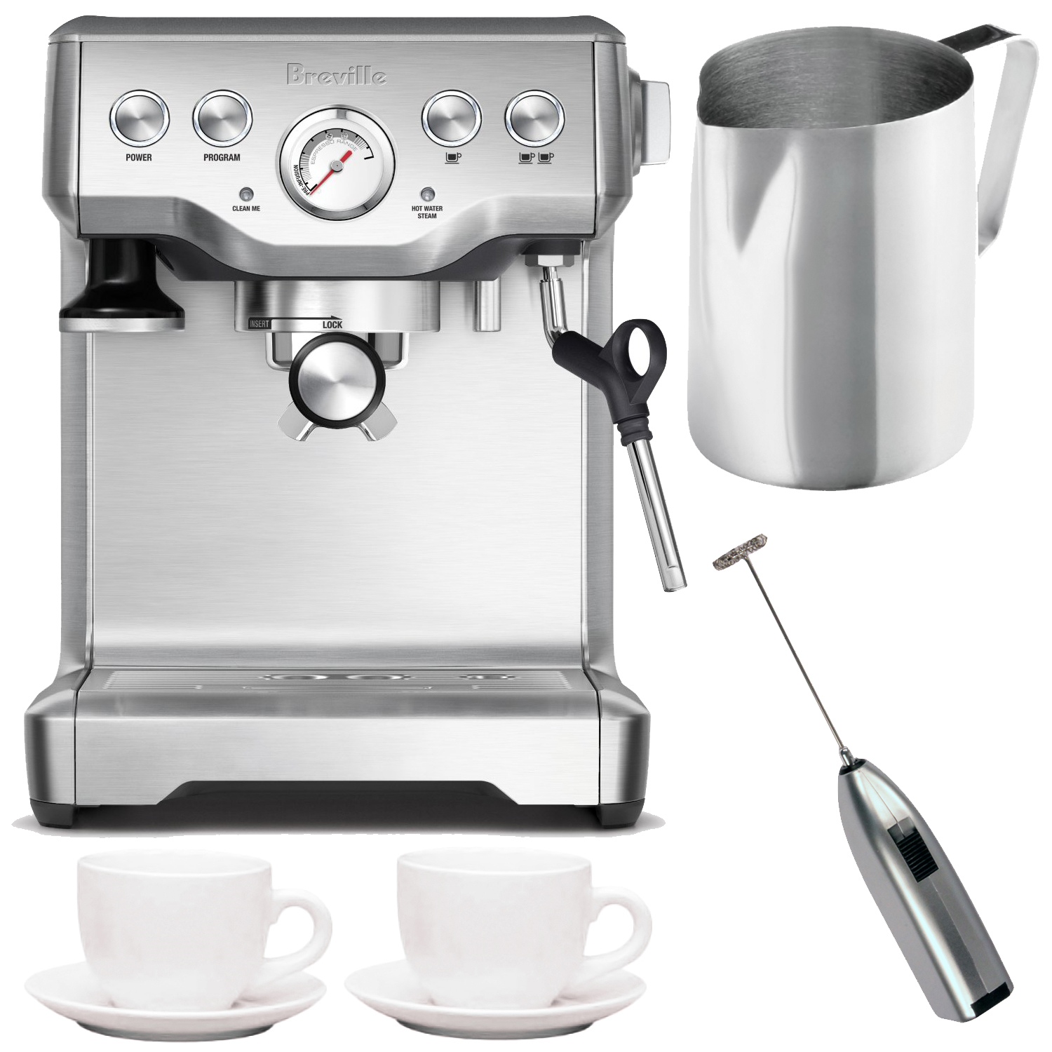 Breville BES840XL Infuser Espresso Machine + Frothing Pitcher, Cups and Frother by Breville