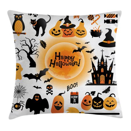 Halloween Decorations Throw Pillow Cushion Cover, All Hallows Day Objects Haunted House Owl and Trick or Treat Candy, Decorative Square Accent Pillow Case, 20 X 20 Inches, Orange Black, by Ambesonne - Halloween Pillow