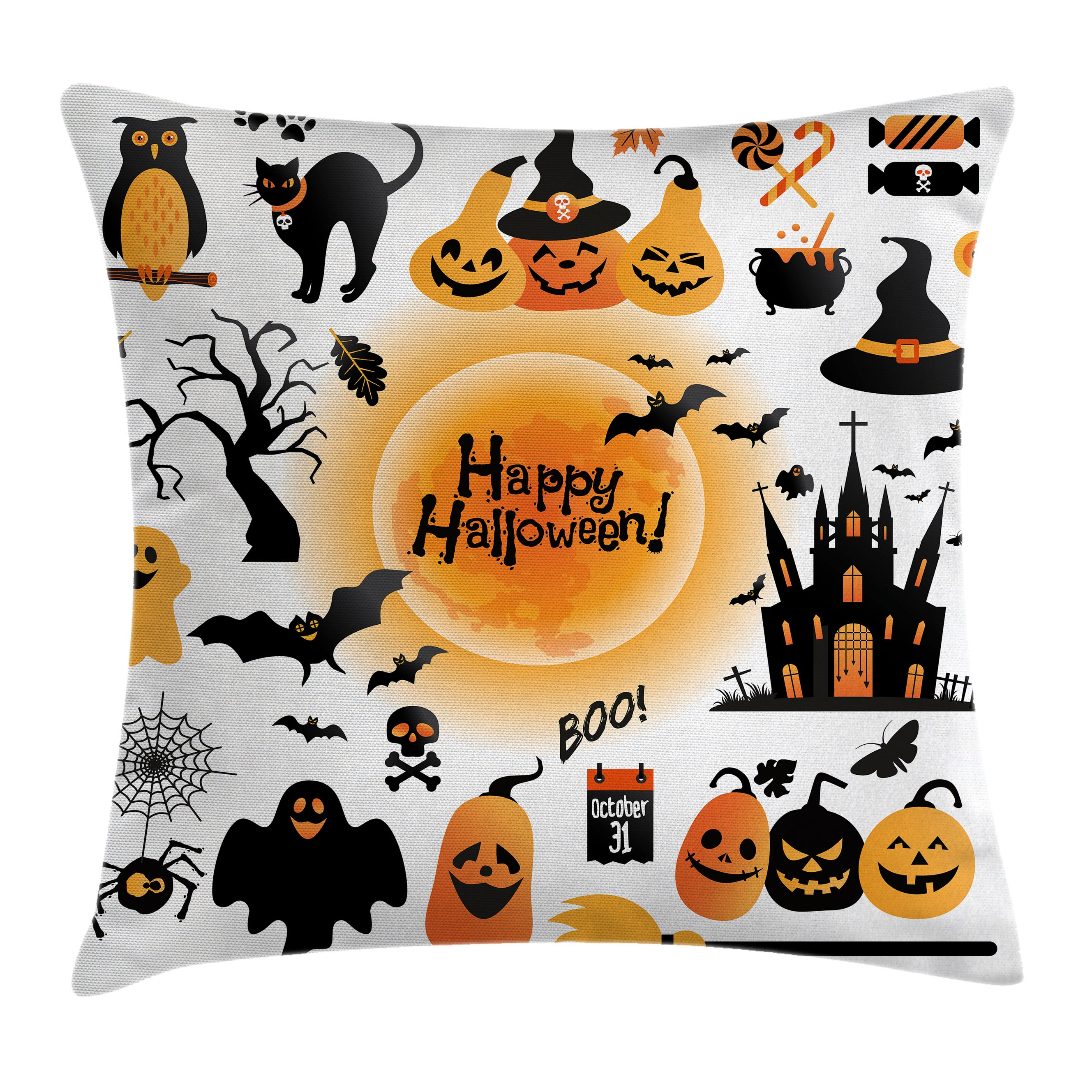 Halloween Decorations Throw Pillow Cushion Cover, All Hallows Day Objects Haunted House Owl and Trick or Treat Candy, Decorative Square Accent Pillow Case, 20 X 20 Inches, Orange Black, by Ambesonne