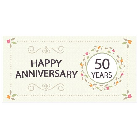 50th Anniversary Banner Flowers Party Decoration Backdrop - 50th Birthday Banners And Balloons