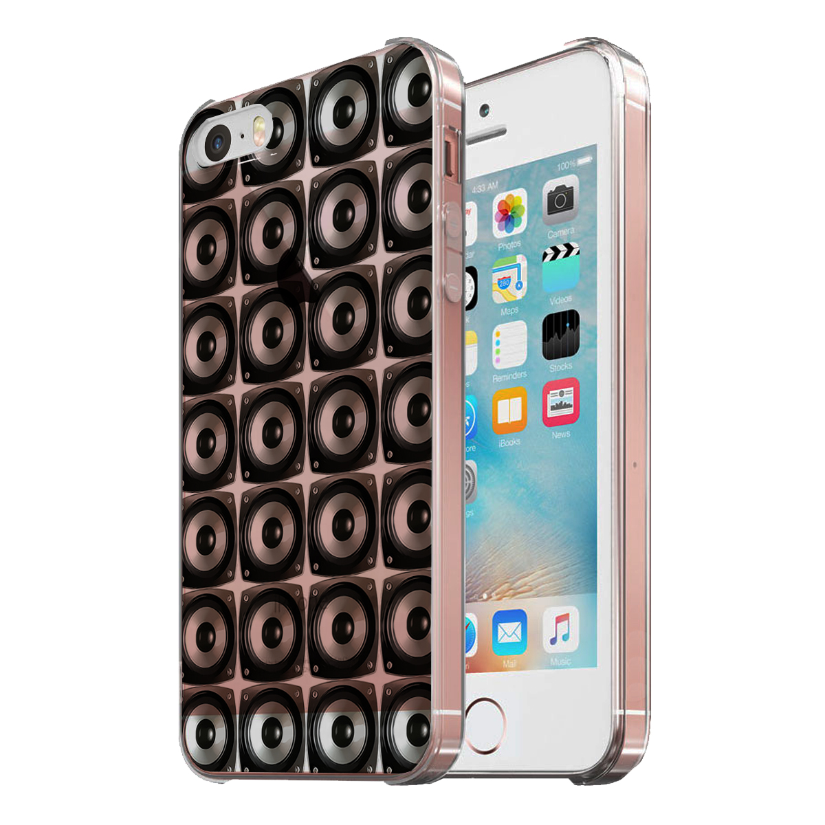 KuzmarK Clear Cover Case fits iPhone SE & iPhone 5 - Speaker Speakers