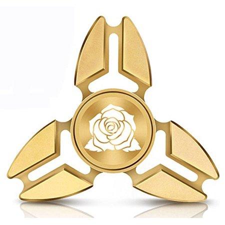 Fidget Spinner Tri Spinner Gold Aluminum Metal Rose Flower