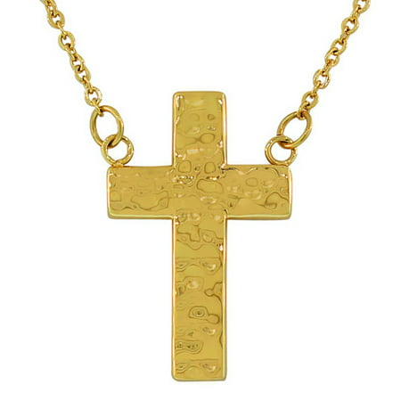 Stainless Steel Yellow Gold-Tone Hammered Finish Cross Pendant Necklace