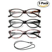 "3 Pack Newbee Fashion- ""Slimten"" Slim Cat Eye Design Fashion Reading Glasses with Lanyard +1.00"