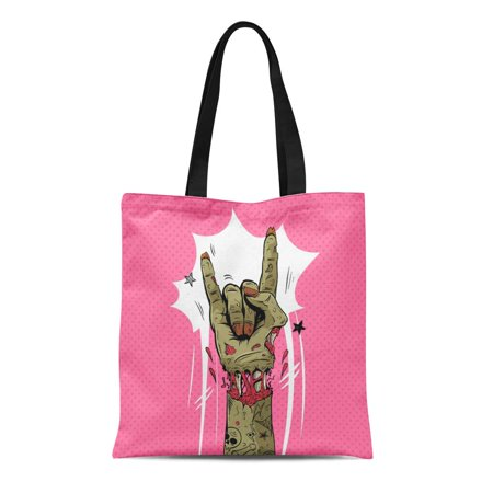 LADDKE Canvas Tote Bag Halloween Zombie Hand Shows Rock Gesture Punk Party Sketch Durable Reusable Shopping Shoulder Grocery Bag - Margarita Rocks Halloween