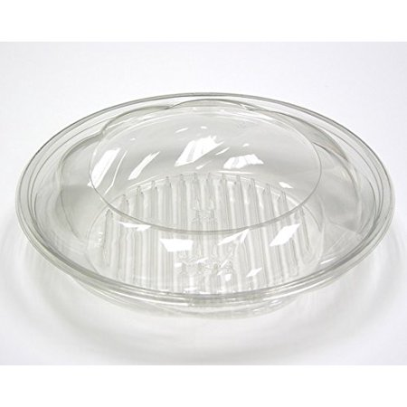 (Pactiv 1040SJSL, 10-Inch Diameter 40 Oz. Clear PET Swirl Salad Bowls With Swirl Lid, Take Out Disposable Catering Food Containers with Matching Covers (100))