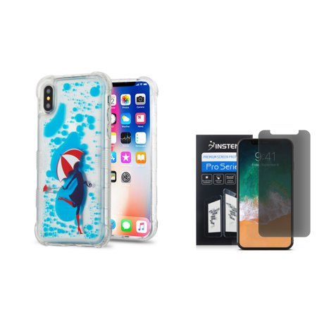 Apple iPhone X Case, Apple iPhone 10 Case, by Insten Oil Aqualava Rain Hard Plastic TPU Cover Case For Apple iPhone X - Blue ( Combo with iPhone X Privacy Screen Protector ) - image 3 of 3