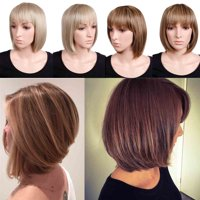 "S-noilite Short Bob Hair Wigs 12.5"" Straight with Flat Bangs Synthetic Colorful Cosplay Daily Party Wig for Women Bleach blonde,12.5""-142g"