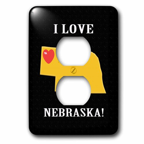 3dRose I Love Nebraska with a Heart on the State, Black, Red, Yellow, 2 Plug Outlet Cover