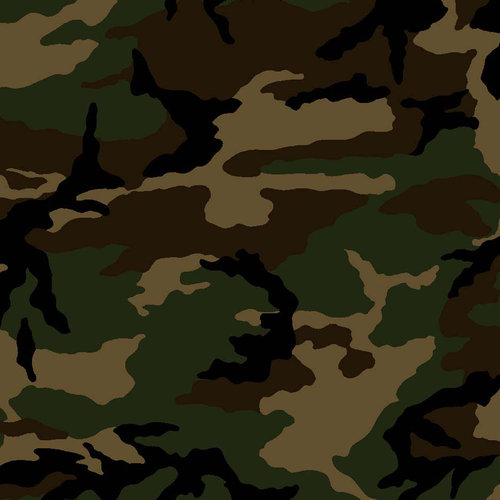 Military Camouflage Camo Army Green Black Brown Cotton Fabric VIP By The Yard