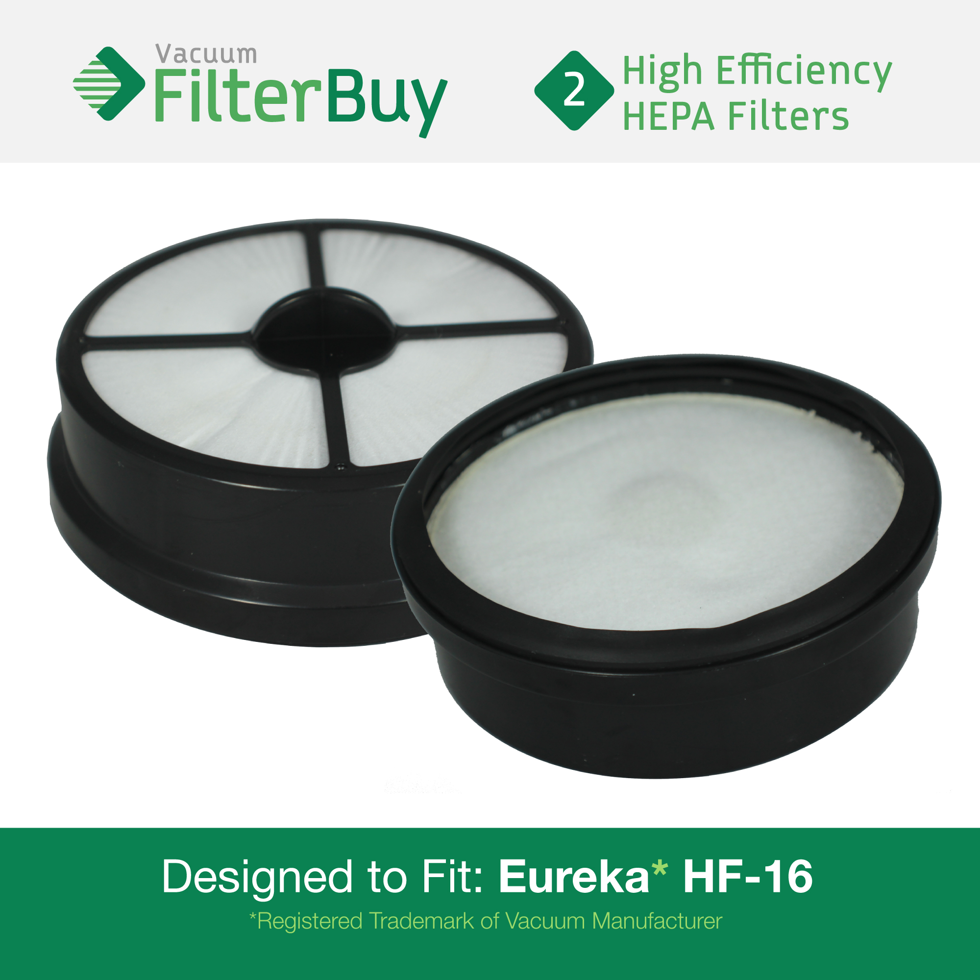 2 - Eureka HF-16 (HF16) HEPA Replacement Filters, Part #'s 68115, 68715, 68115A & 67806.  Designed by FilterBuy to fit Eureka Air Speed Zuum AS5203A Upright Vacuum