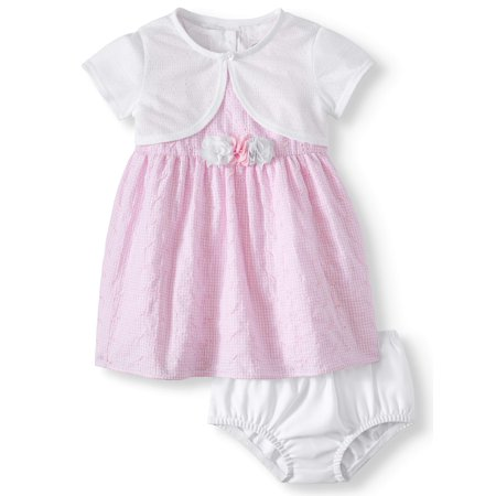 Eyelet Gingham Special Occasion Dress With Pointelle Shrug, 2pc Set (Baby Girls)