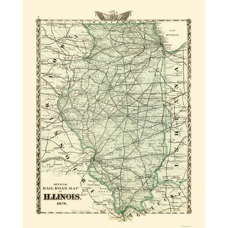 Old Railroad Map   Illinois Railroad Map   Beers 1876   23 X 28 63