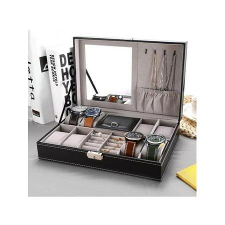 8 Watch Display Pu Leather Box Jewelry Case Storage Organizer Black
