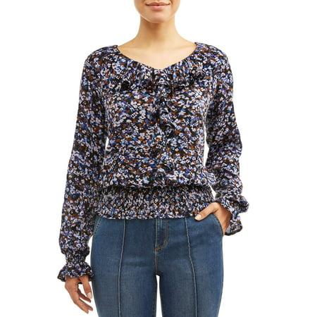 Sofia Jeans Smocked Waist Ruffle Front Woven Top Women's (Floral Print) Floral Print Ruffle Top