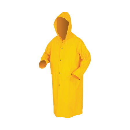 Classic Rain Coat, Detachable Hood, 0.35 Mm Pvc/Polyester, Yellow, 49 in X-Large