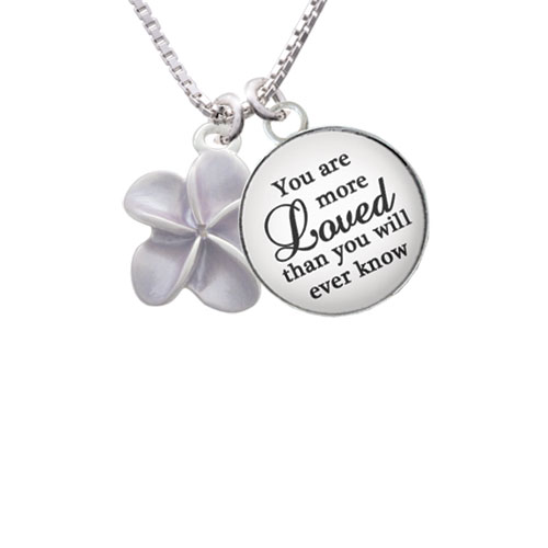 """Purple Plumeria Flower You are more Loved than you Know Glass Dome Necklace, 18""""+2"""""""