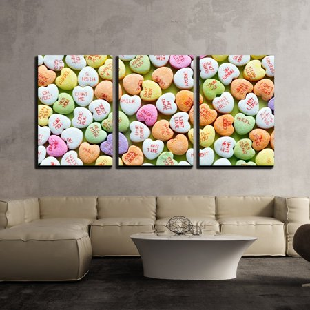 wall26 - 3 Piece Canvas Wall Art - Heart Shaped Candies for Valentines Day - Modern Home Decor Stretched and Framed Ready to Hang - 16