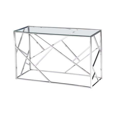 Best Master Furniture Stainless Steel Angled Sofa Table