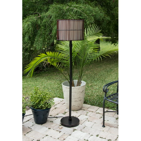 Kenroy Home Exotically-Inspired Bora Outdoor Floor Lamp, 59 Inch Height, Oil-Rubbed Bronze, 15 Inch Diameter All-Weather Split Bamboo Outer Shade, White Fabric Inner Shade, UL Certified,Wet Locations