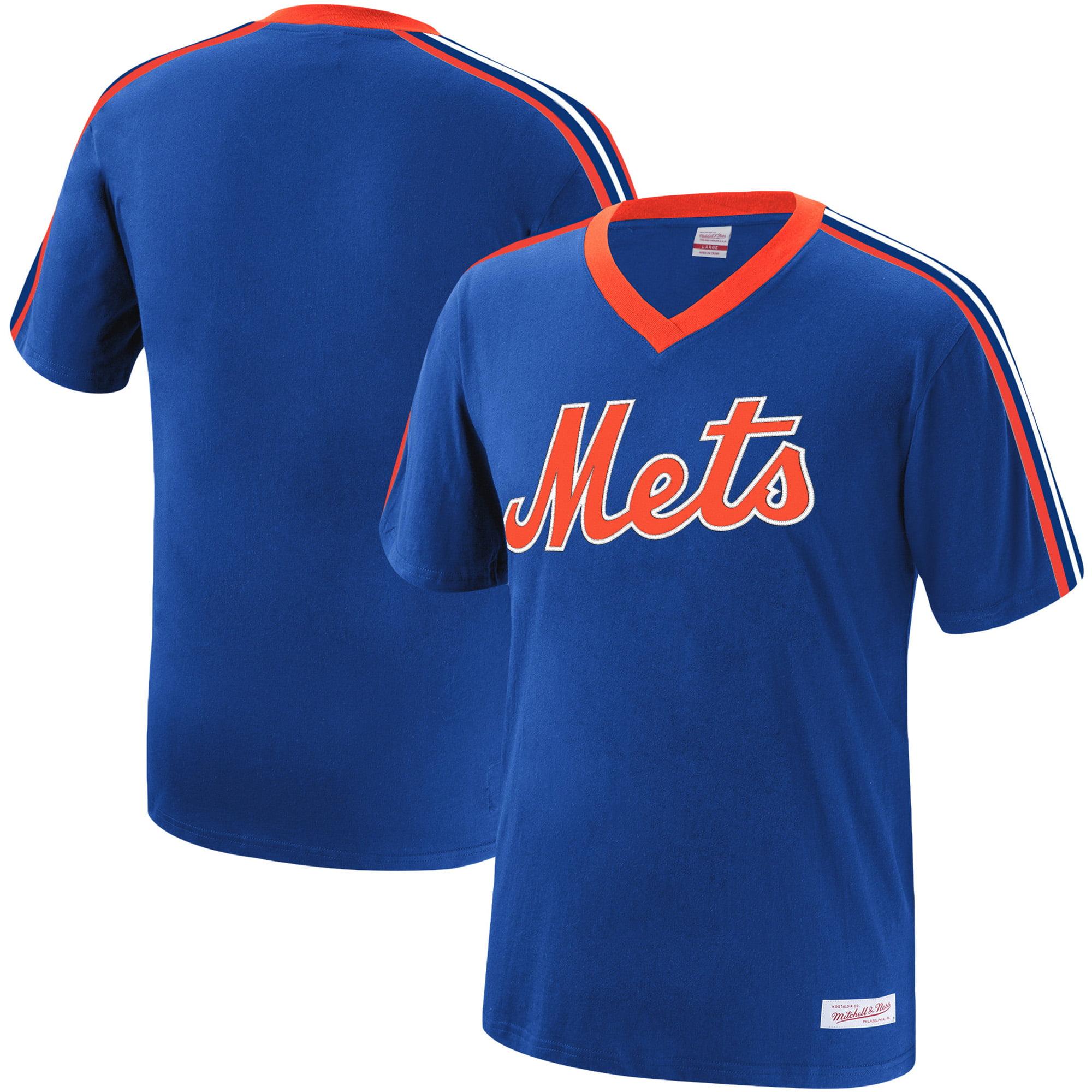 New York Mets Mitchell & Ness Overtime Win V-Neck T-Shirt - Royal