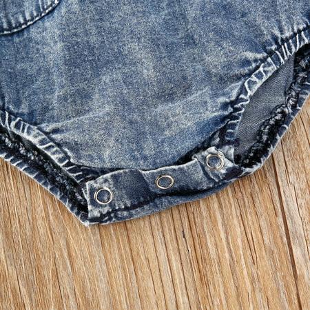 Unisex Infant Sleeveless Romper Summer Baby Girls Boys Round Collar Pocket Denim Cotton Jumpsuit Clothing - image 2 de 4
