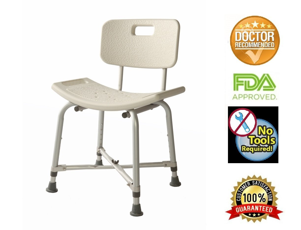 Enjoyable Bath Bench With Back Heavy Duty Adjustable Height Lightweight Shower Bench With Non Slip Seat White By Healthline Trading Machost Co Dining Chair Design Ideas Machostcouk