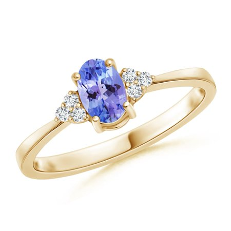 - December Birthstone Ring - Solitaire Oval Tanzanite and Diamond Promise Ring in 14K Yellow Gold (6x4mm Tanzanite) - SR0231T-YG-AAA-6x4-6.5