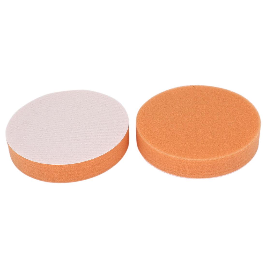 Car 2pcs Round Polishing Sponge Cleaning Pads Orange 13x2.5cm - image 2 of 2