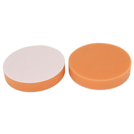 Unique Bargains Car 2pcs Round Polishing Sponge Cleaning Pads Orange 13x2.5cm