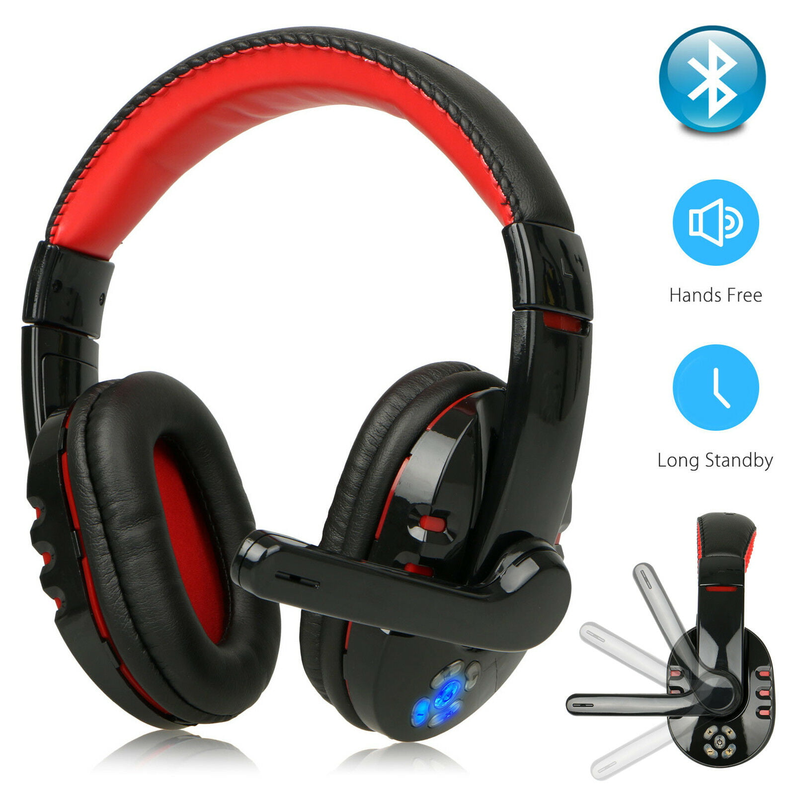 Bluetooth Wireless Gaming Headset For Xbox Pc Ps4 With Mic Led Volume Control Walmart Com Walmart Com