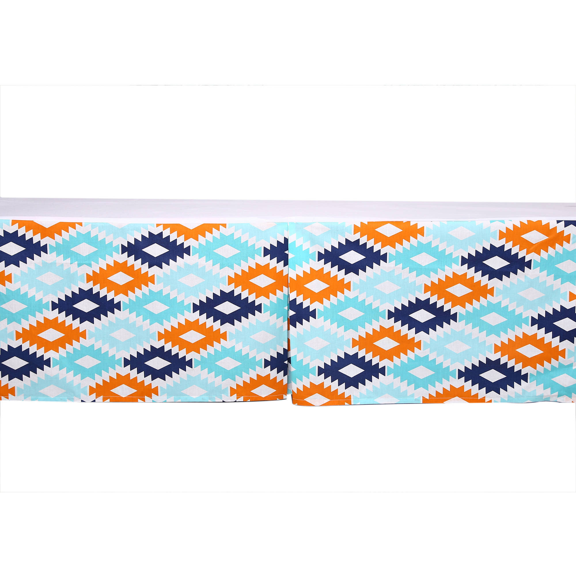 Bacati - Liam Aztec Kilim Aqua/Orange/Navy Tailored with 100% Cotton Percale 13 inch drop Crib/Toddler Bed Skirt
