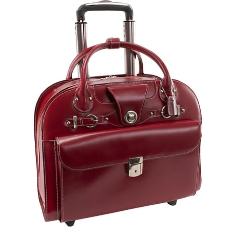 McKlein EDGEBROOK, Wheeled Ladies' Laptop Briefcase, Top Grain Cowhide Leather, Red (96316)