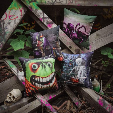 Set of 4 PHANTOSCOPE Decorative Happy Halloween Series Terror Journey Throw Pillow Case Cushion Cover 18