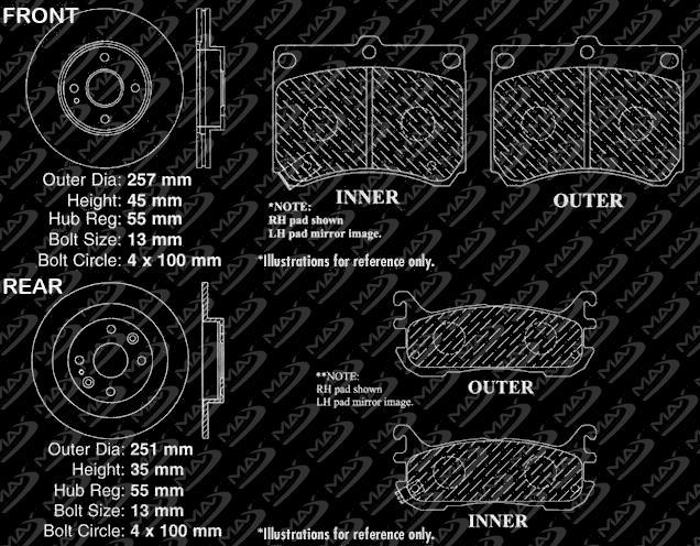 Fits: 1995 95 1996 96 1997 97 1998 98 Honda Odyssey KT088783 Max Brakes Front /& Rear Elite Brake Kit E-Coated Slotted Drilled Rotors + Ceramic Pads