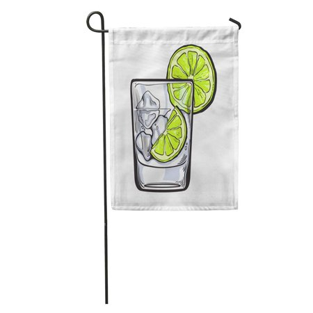 KDAGR Glass of Gin Vodka Soda Water Ice and Lime Sketch Garden Flag Decorative Flag House Banner 12x18 inch