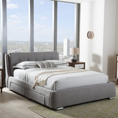 Baxton Studio Camile Modern and Contemporary Grey Fabric Upholstered 4-Drawer Storage Platform Bed, Multiple (Armeena Upholstered Platform Bed With Storage Drawers)