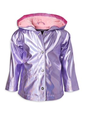 Limited Too Girls 4-16 Metallic Water Resistant Rain Jacket with Fleece Lining