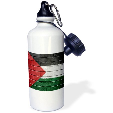 3dRose National flag of Palestine painted onto a brick wall Palestinian, Sports Water Bottle, 21oz