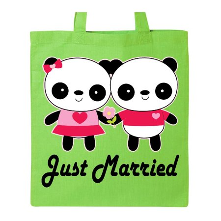 Just Married Panda Couples Honeymoon Tote Bag Lime Green One Size
