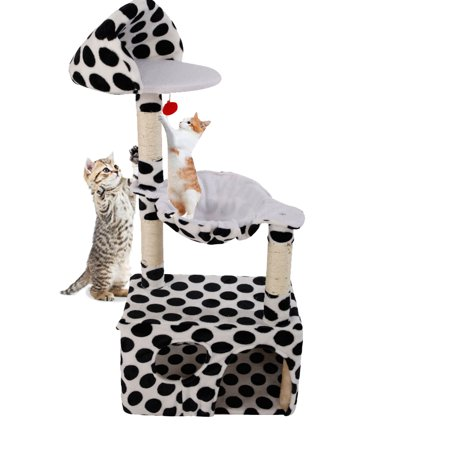 "Zimtown 47"" Cat Tree Pet Furniture Condo House Scratch Post Bed Tower Hammock Perch Black Point"