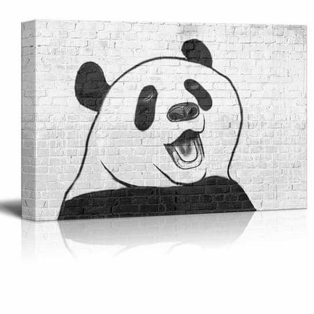 wall26 - Canvas Wall Art - Panda Drawing on Brick Wall - Gallery Wrap Modern Home Decor | Ready to Hang - 32x48 (Prada Home)