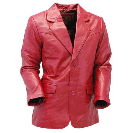 Burgundy Two Button Lambskin Leather Blazer  #M1122BTBG Button Lambskin Leather Blazer
