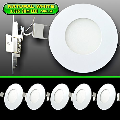 Leisure Led 5 Pack Rv Boat Recessed Ceiling Light 240 Lumen Super Slim Led Panel Light Dc 12v 3 375 3w Full Aluminum Downlights Natural White Natural White 5 Pack Walmart Com Walmart Com