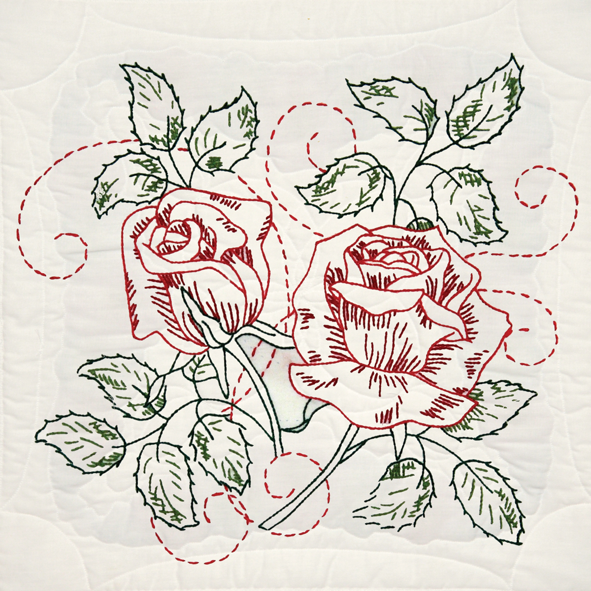 "Fairway Needlecraft Running Stitch Rose Stamped Quilt Blocks, 18"" x 18"""