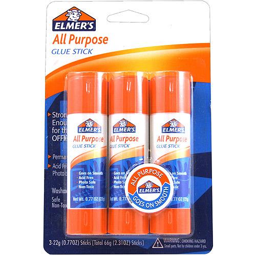All Purpose Glue Sticks, .77 oz, 3pk