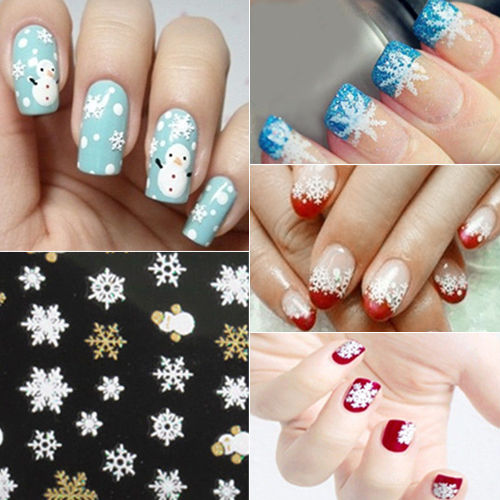 Girl12Queen Christmas Snowflakes Snowman 3D Nail Art Sticker Decal Girl Fingernail Accessory