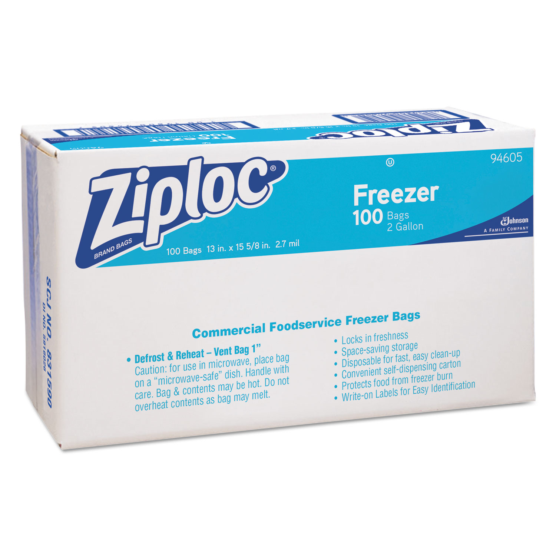 Ziploc Pinch & Seal Zipper Freezer Storage Bags, Gallon, 100 Ct