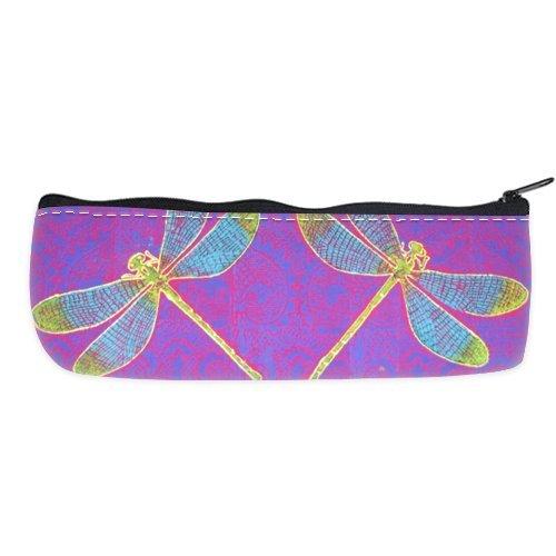 POPCreation Purple Lace Background Dragonfly School Pencil Case Pencil Bag Zipper Organizer Bag
