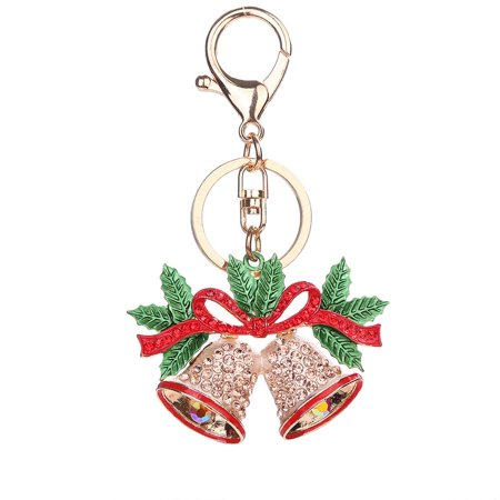 Enamel Red Christmas Bell Rhinestone Crystal Alloy Hanging Keychain Key Ring Xmas - Enamel Key Ring